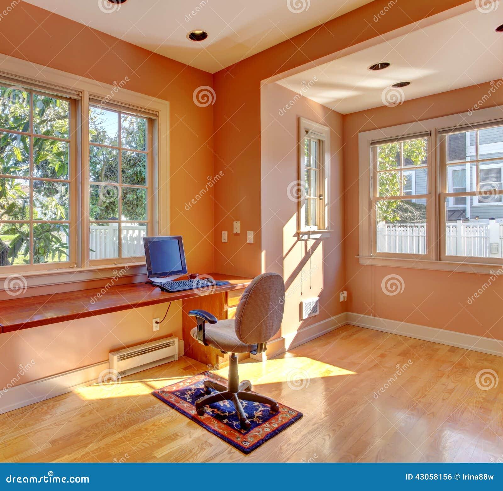 office room interior in peach color bright office room interior