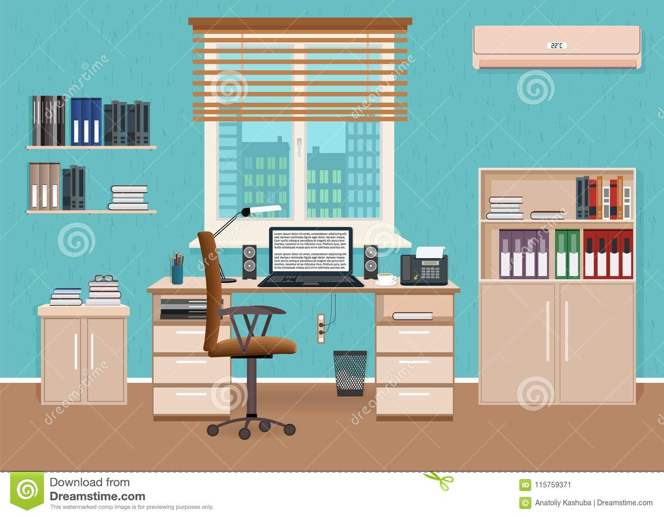 Office Room Interior With Workspace. Working Cabinet ...