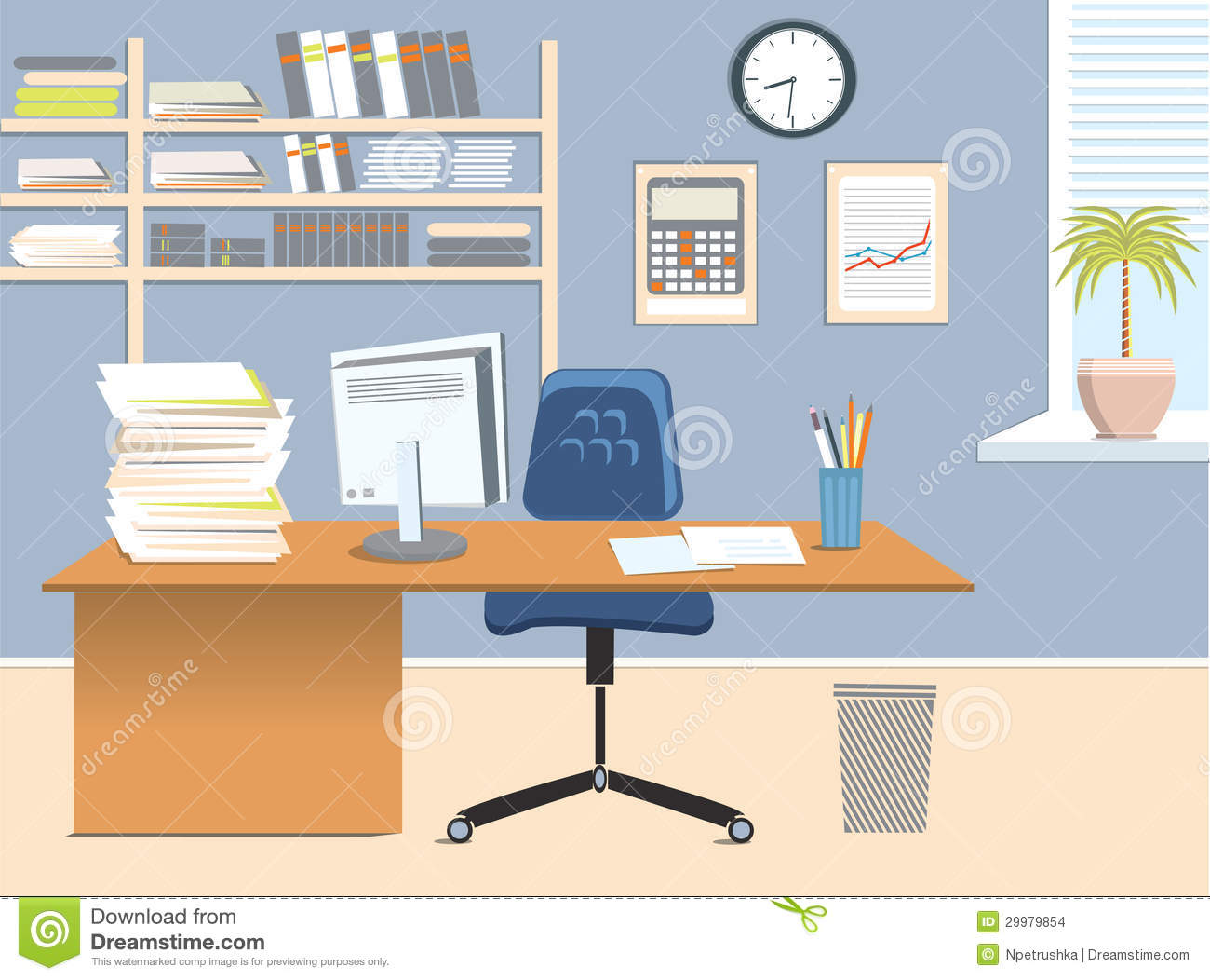 Office room stock vector. Illustration of table, inside - 29979854