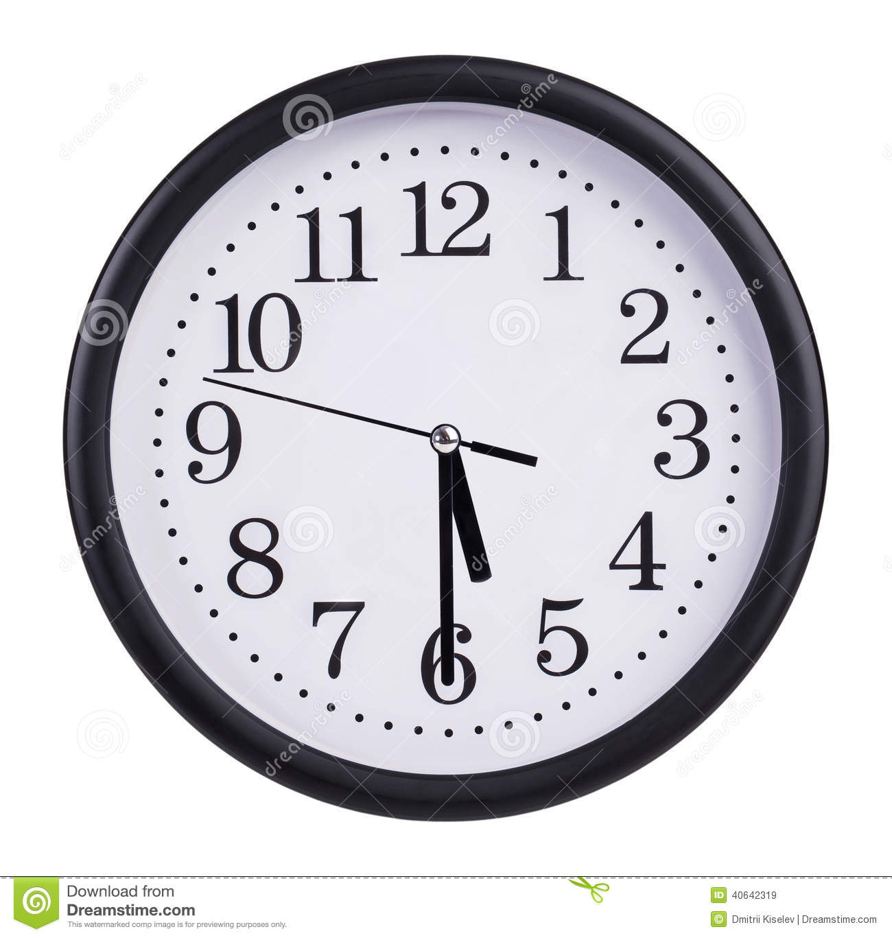 Office Round Clock Shows Half Past Five Stock Photo