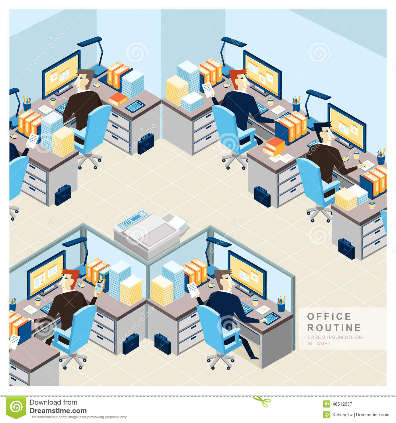 office routine view in flat design stock vector   image