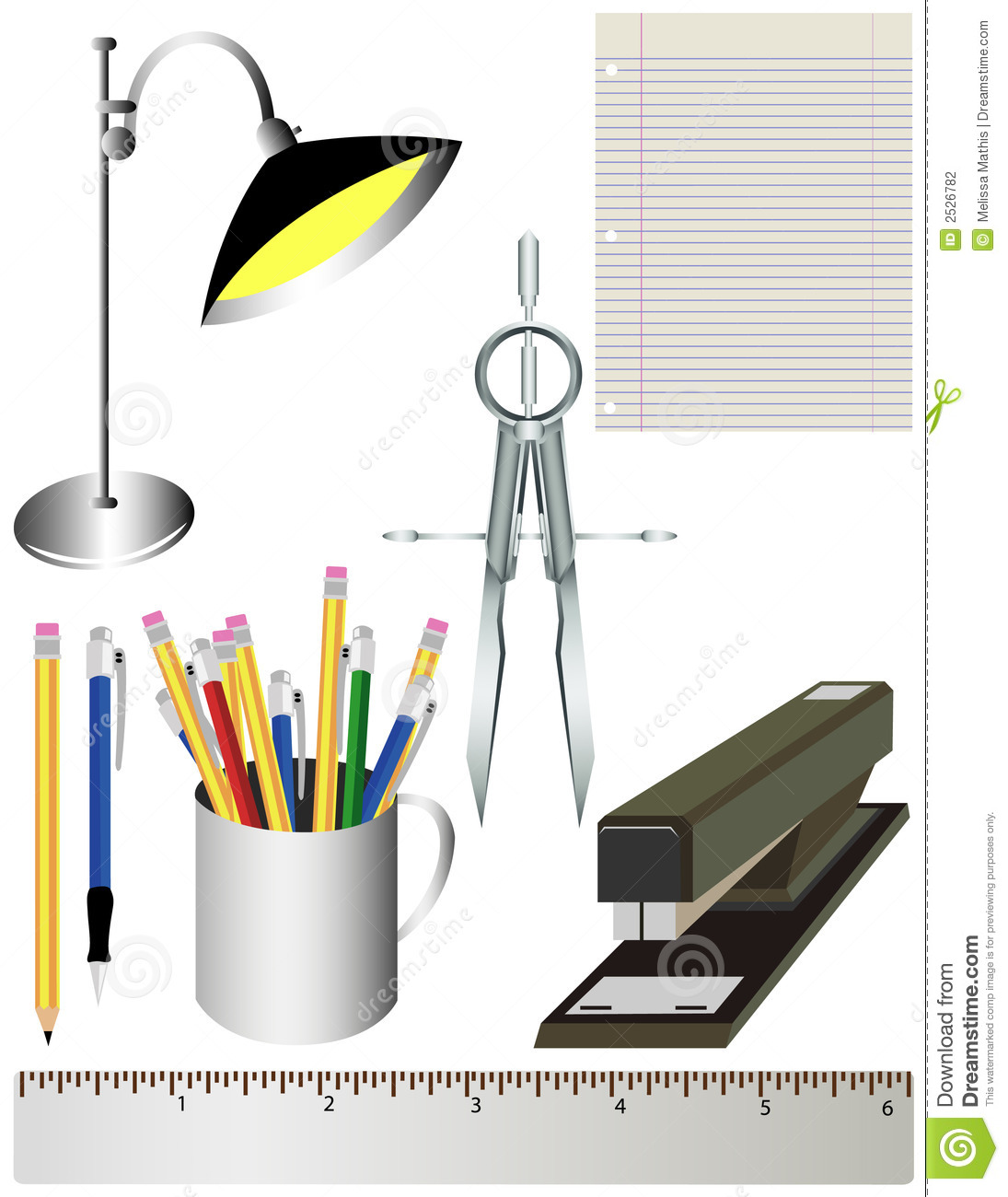 office or school supplies stock illustration  illustration
