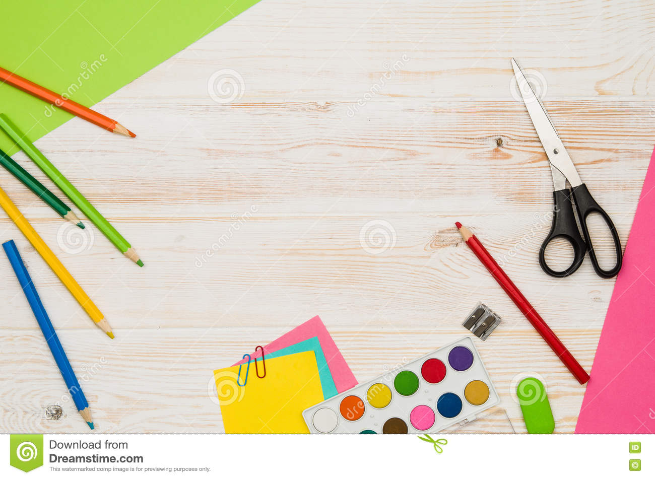 Attrayant Download Office School Table Or Desk Seen From Above. Top View Stock Photo    Image