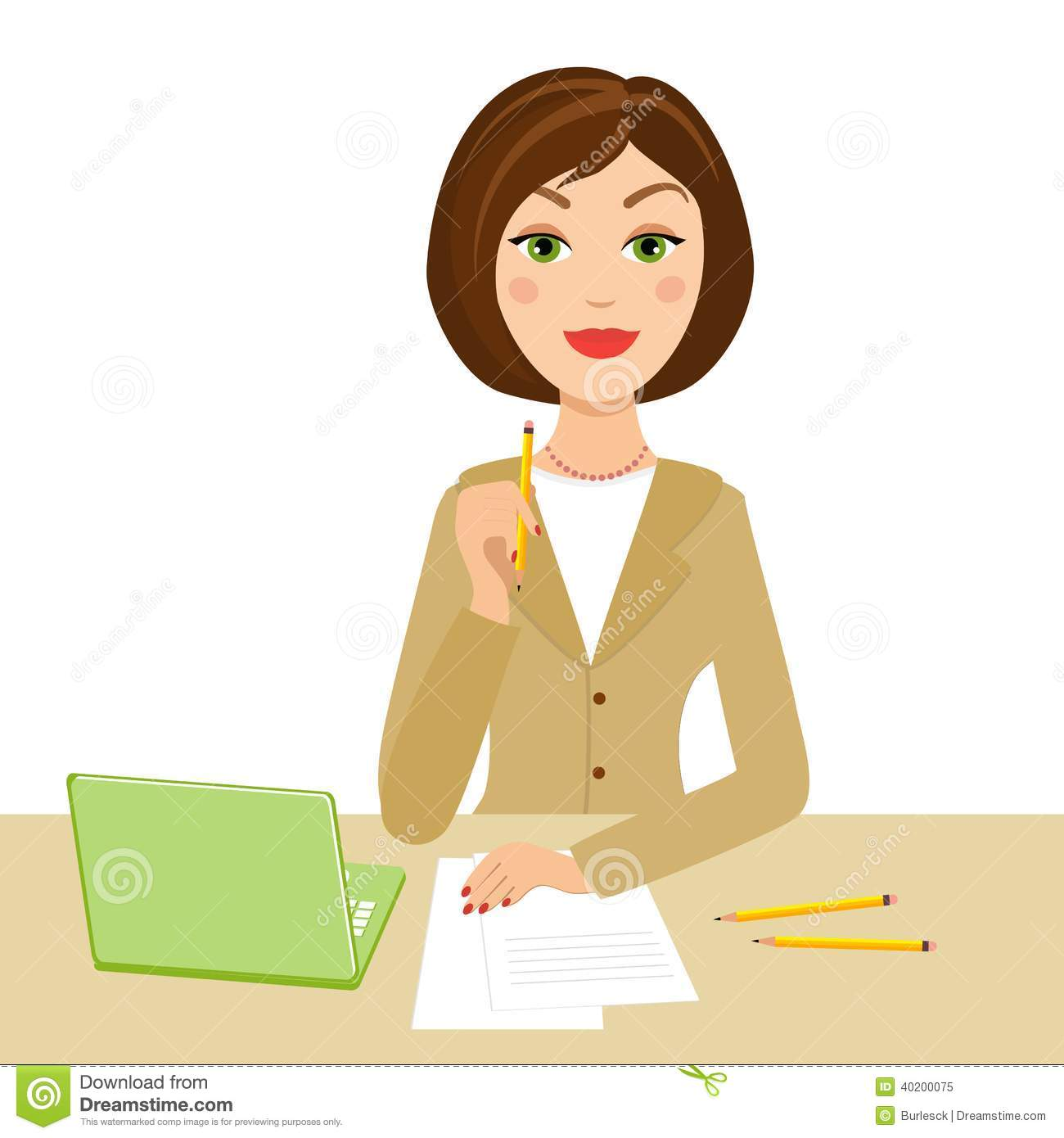 Office secretary with notebook and pencil on her hand vector eps10