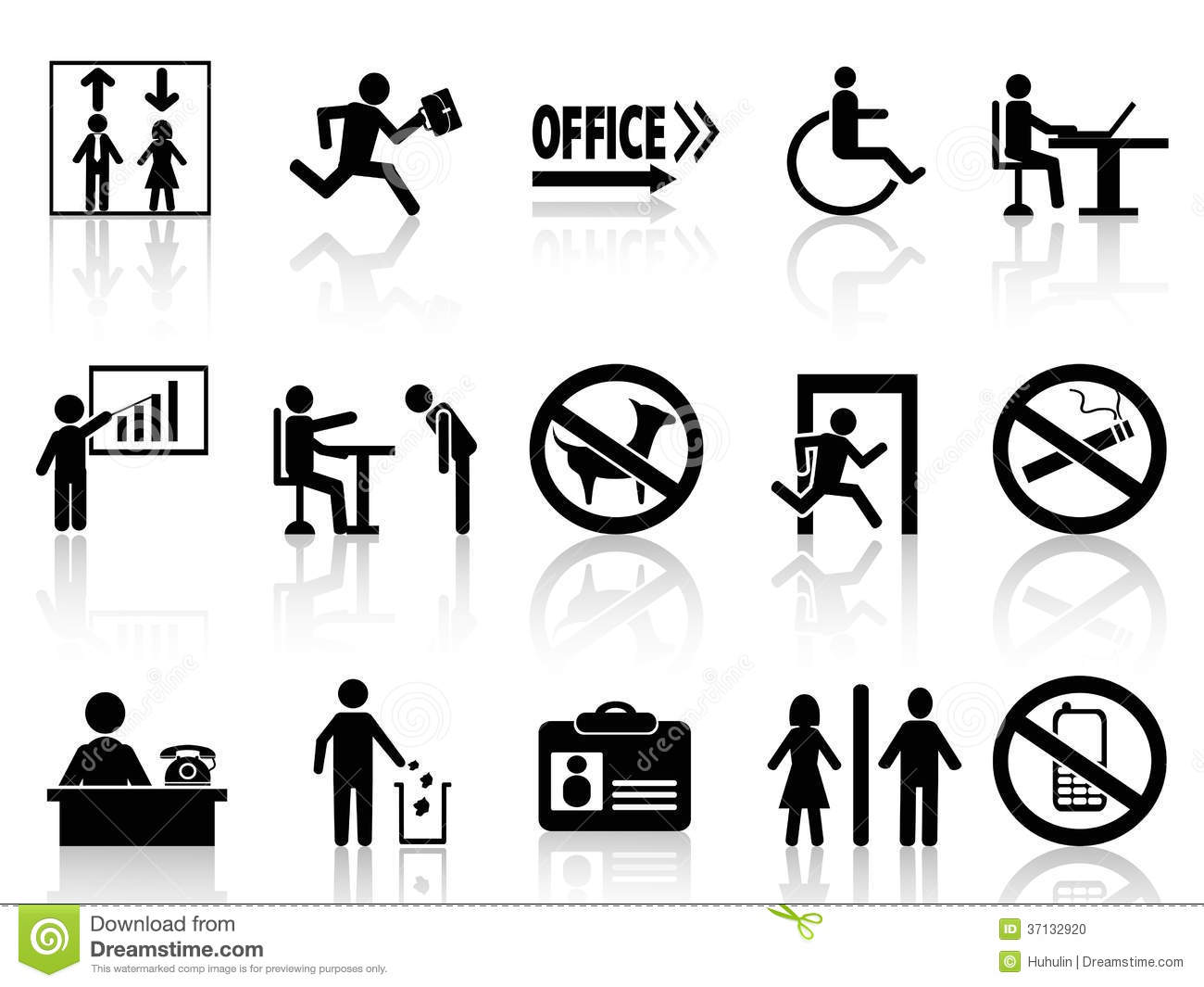 Office Sign Icons Set Stock Photo Image 37132920