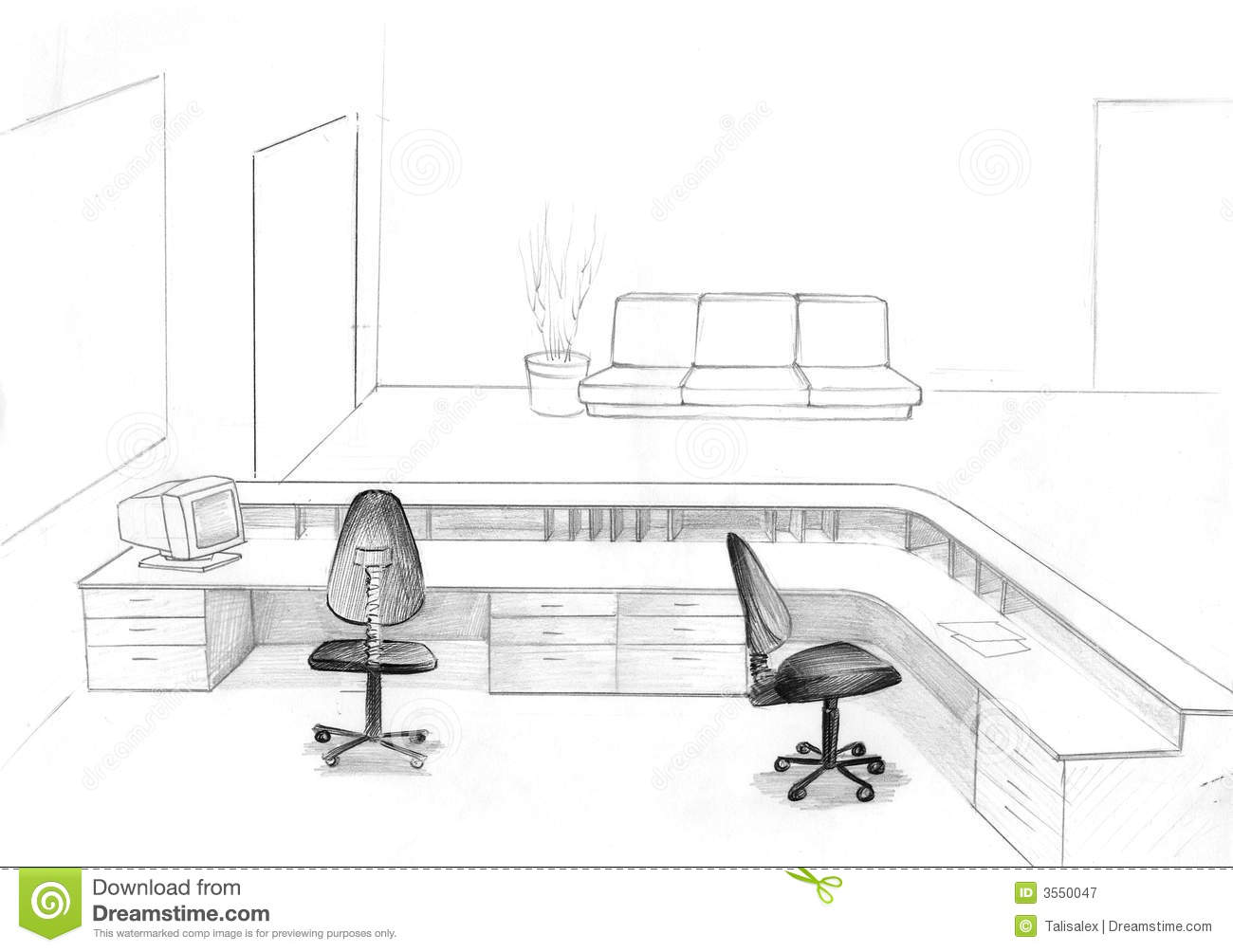 Office sketch stock illustration illustration of chief for Sofa zeichnung