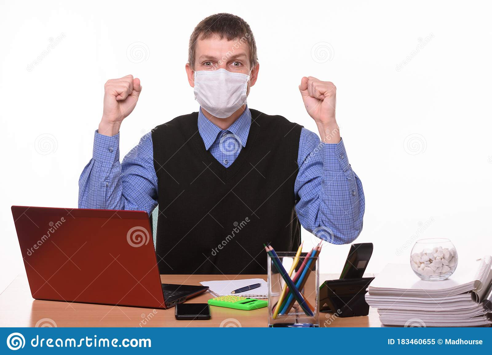 Office Specialist In Medical Mask Joyfully Celebrates Success Stock Image Image Of Background Pandemic 183460655