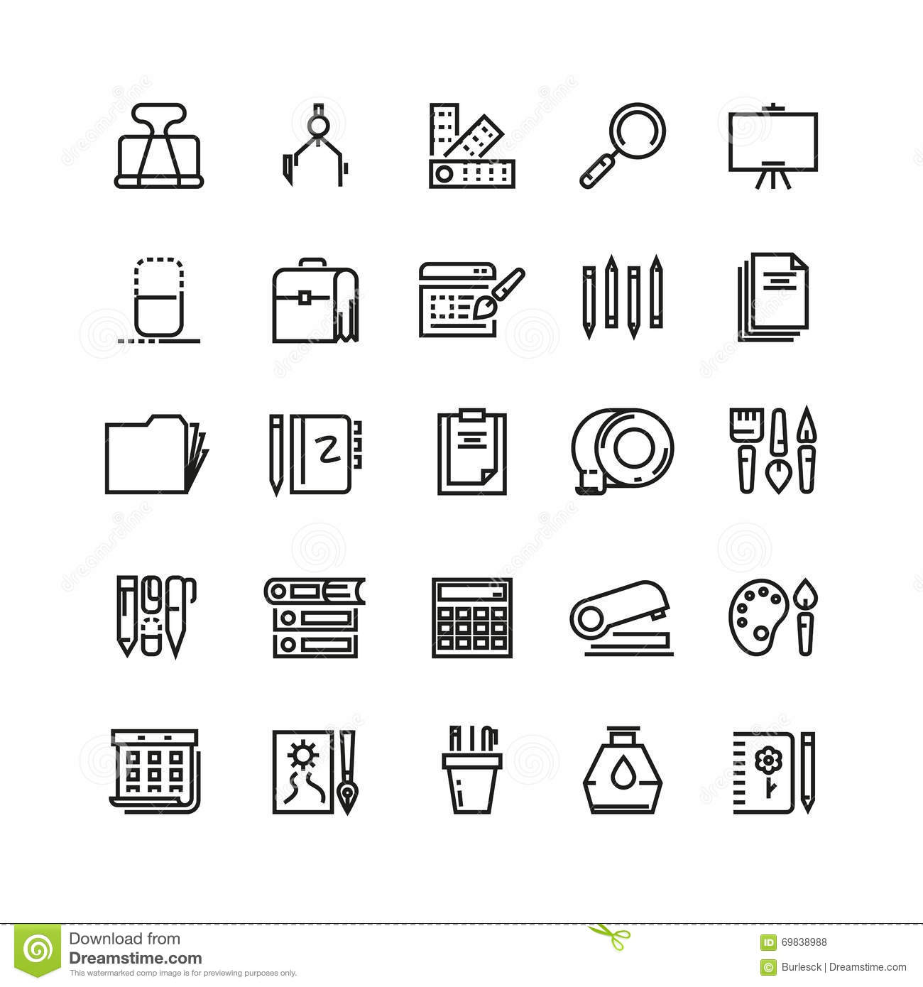 Line Art Icons : Office stationery drawing and writing line vector icons