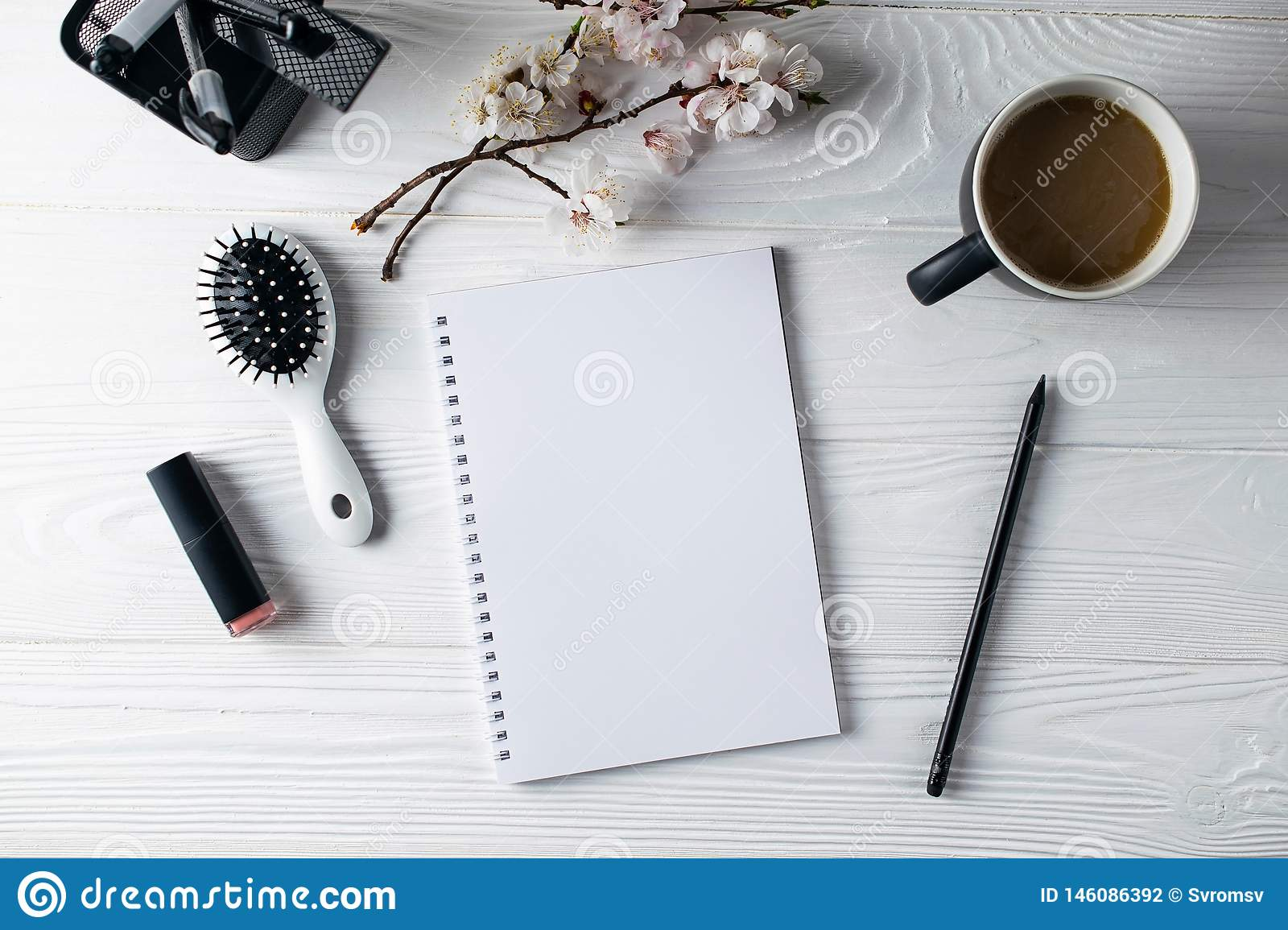 Office stationery, phone, notebook, coffee and pensil, writer
