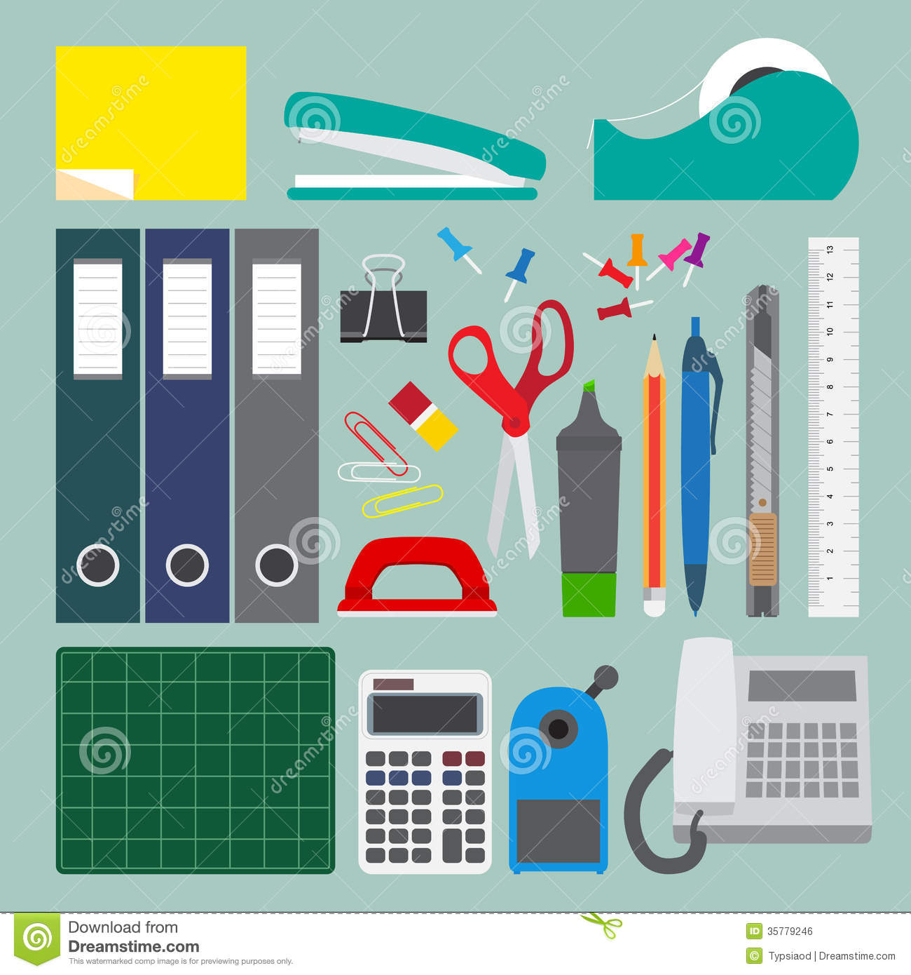 Office Stationery Set With Simple Style Royalty Free