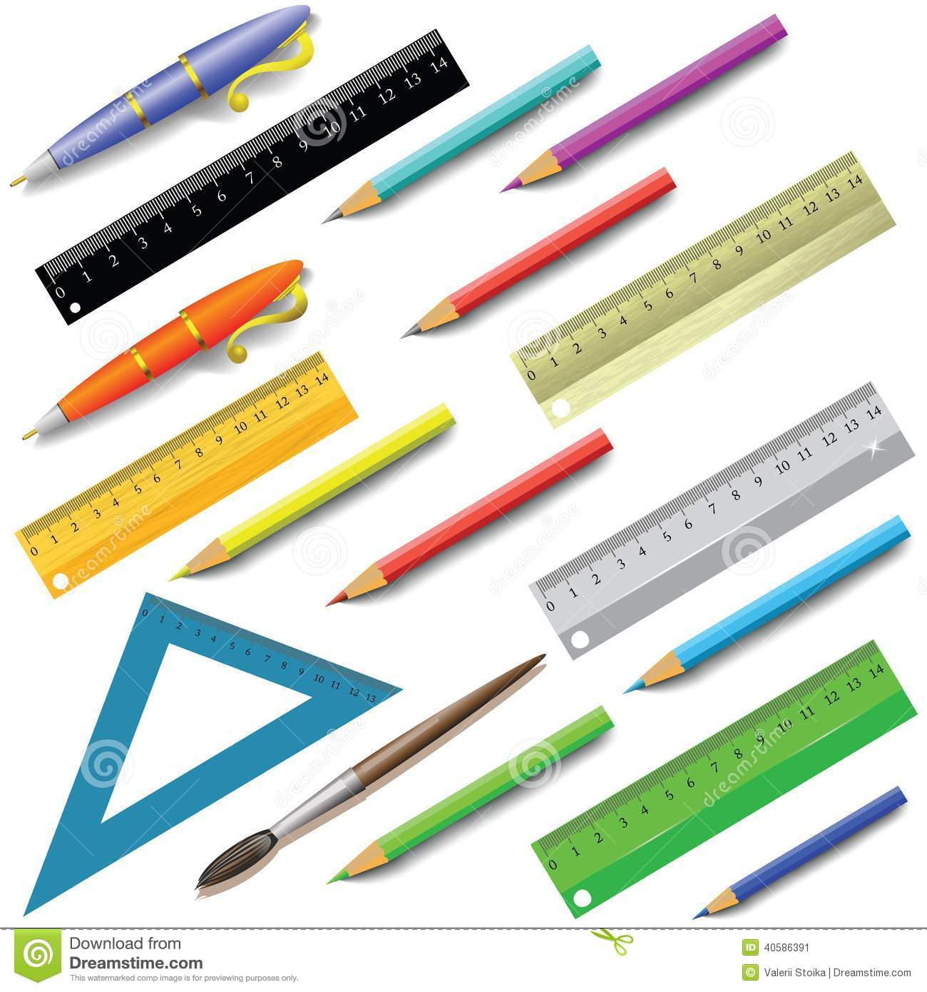 Office Supplies Stock Vector Image 40586391