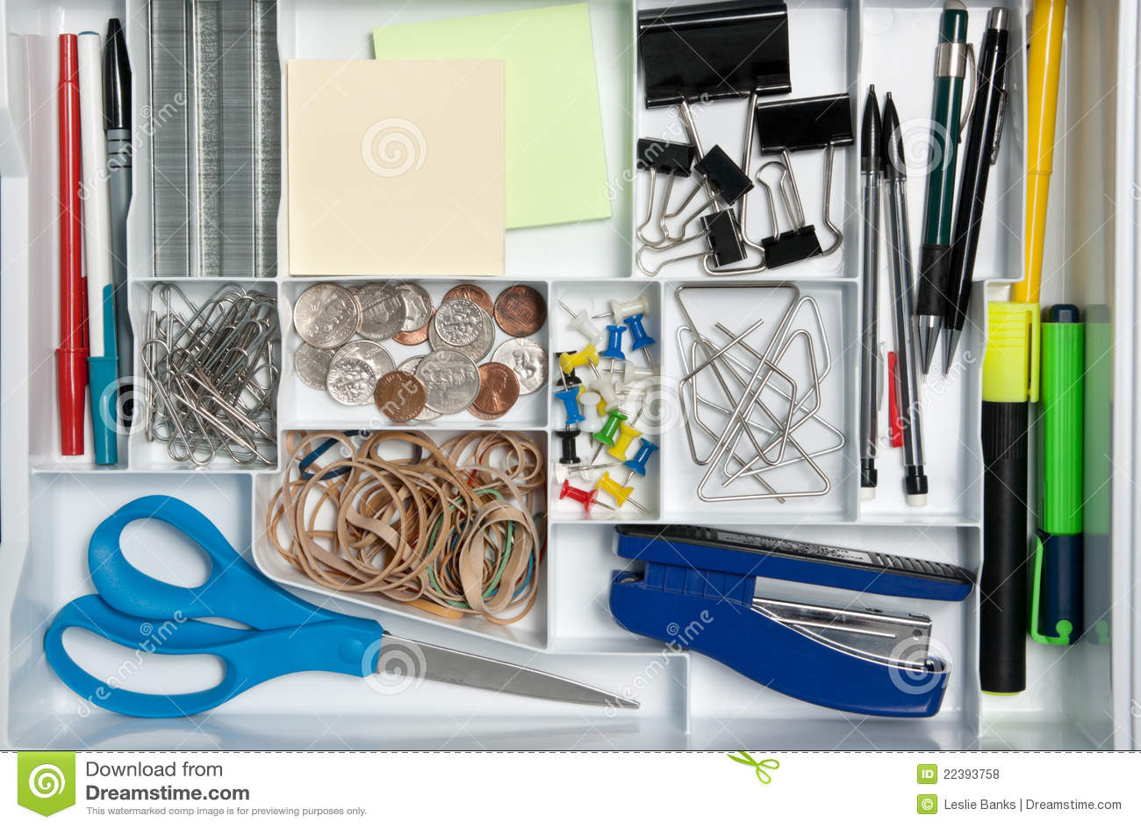 Office supplies in a desk organizer