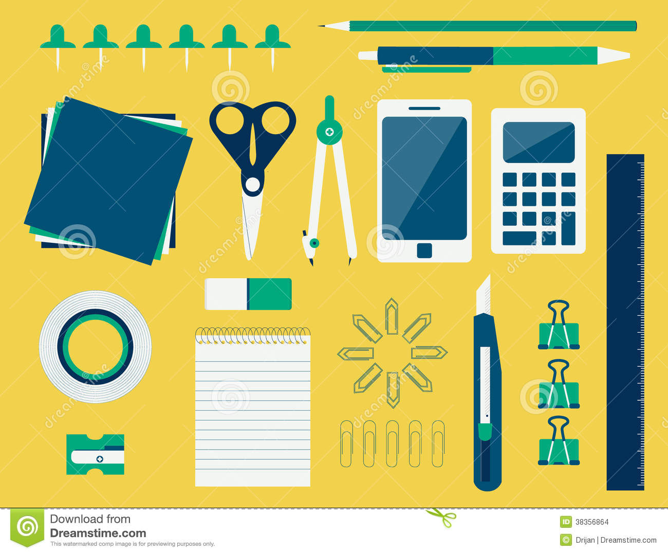 Office supplies flat design stock vector image 38356864 for Office design vector