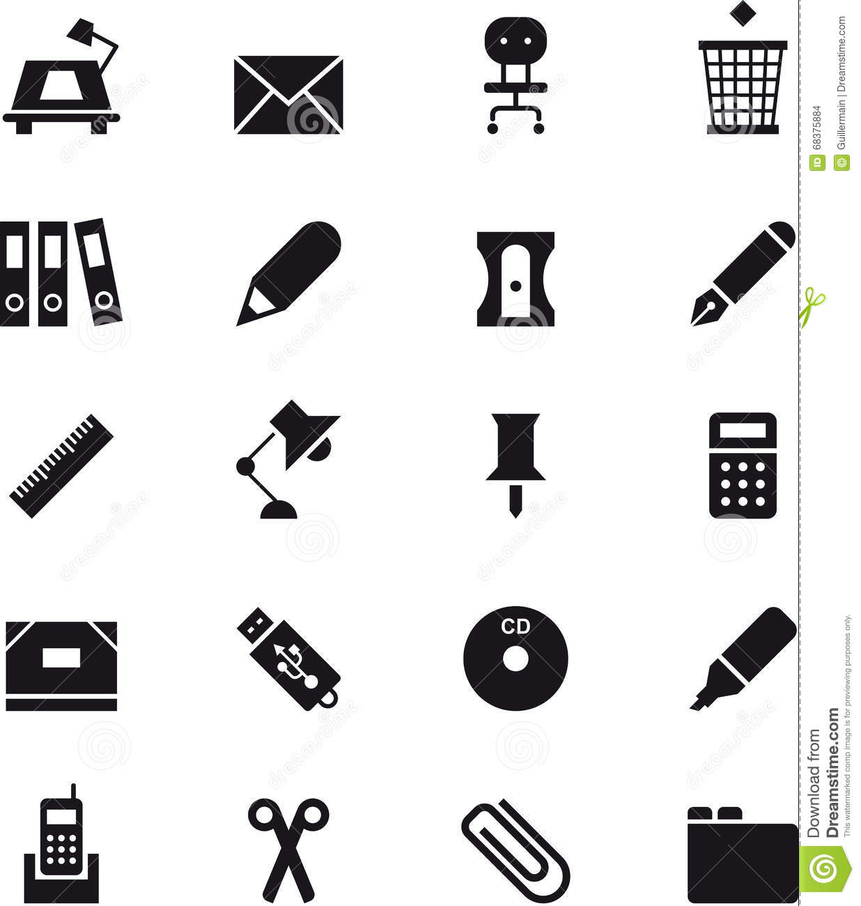 Office Supplies Icon Set Stock Photo Image Of Office