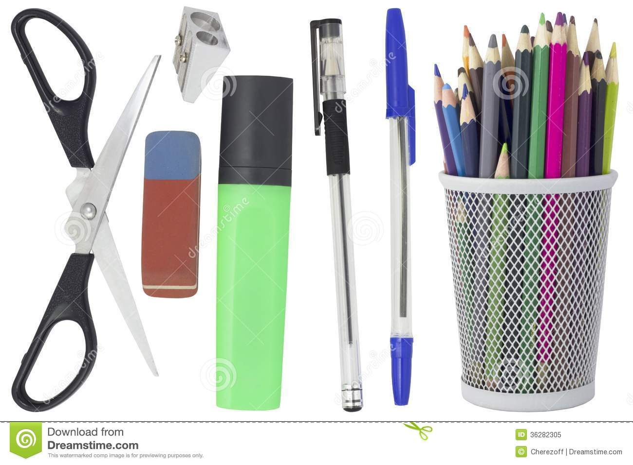 Royalty Free Stock Photo Office Supplies Pencils Pens Scissors Markers Eraser Pencil Sharpener Isolated White Background Image36282305 on ink eraser
