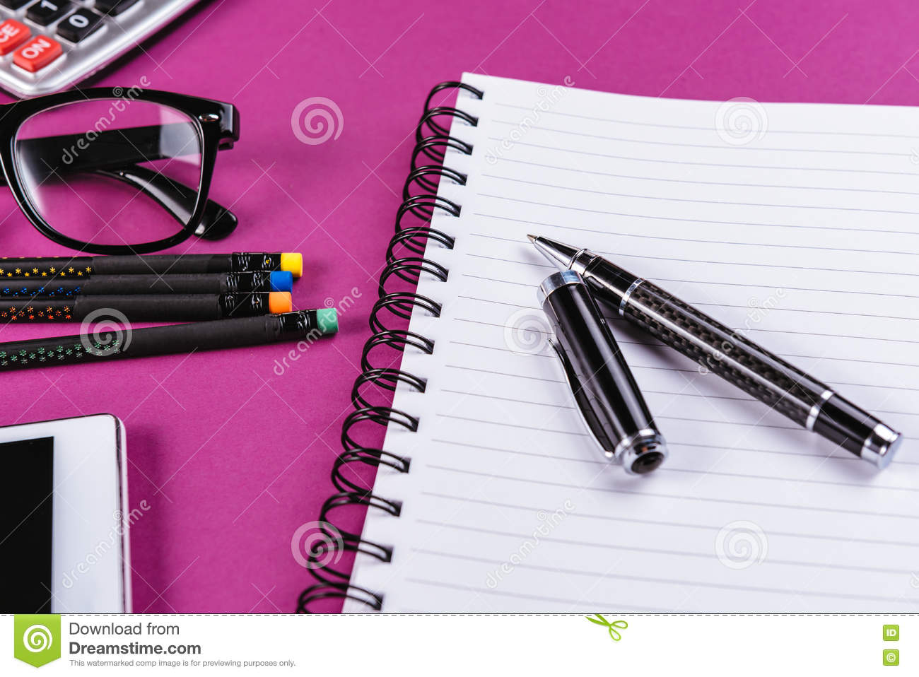 Download Office Supplies On Purple Background Stock Photo   Image Of  Background, Fashionable: 76184496