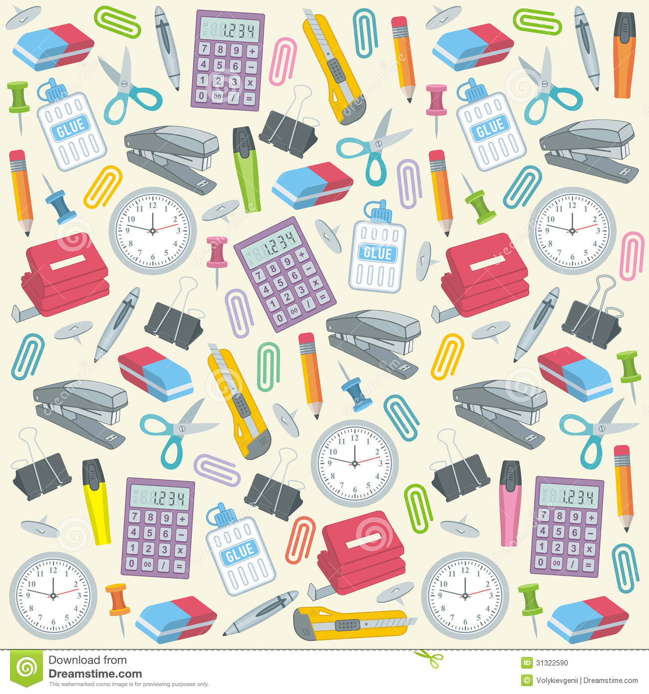 Office Supplies Seamless Background Stock Photo - Image: 31322590