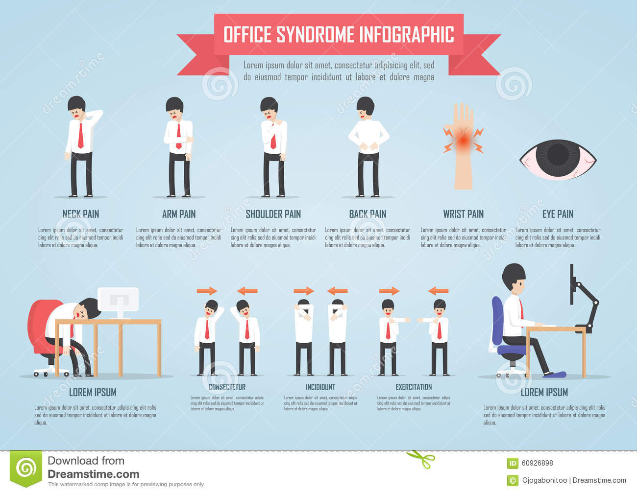 Office Syndrome Infographic Stock Vector Illustration Of