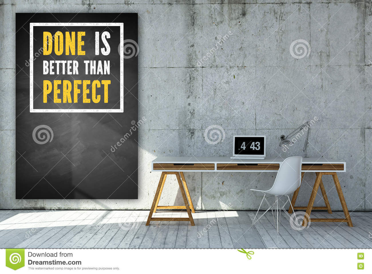 office chalkboard. Office Table And A Chalkboard With The Message Done Is Better Than Perfect