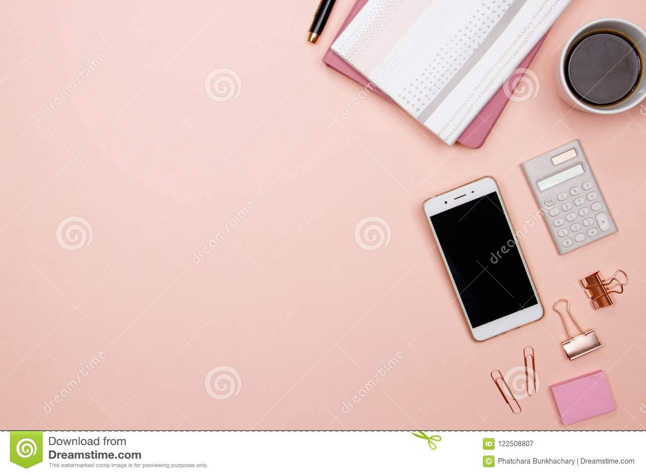 Superbe Office Table Desk With Smartphone And Other Office Supplies On Pink  Background. Top View With Copy Space, Flat Lay.