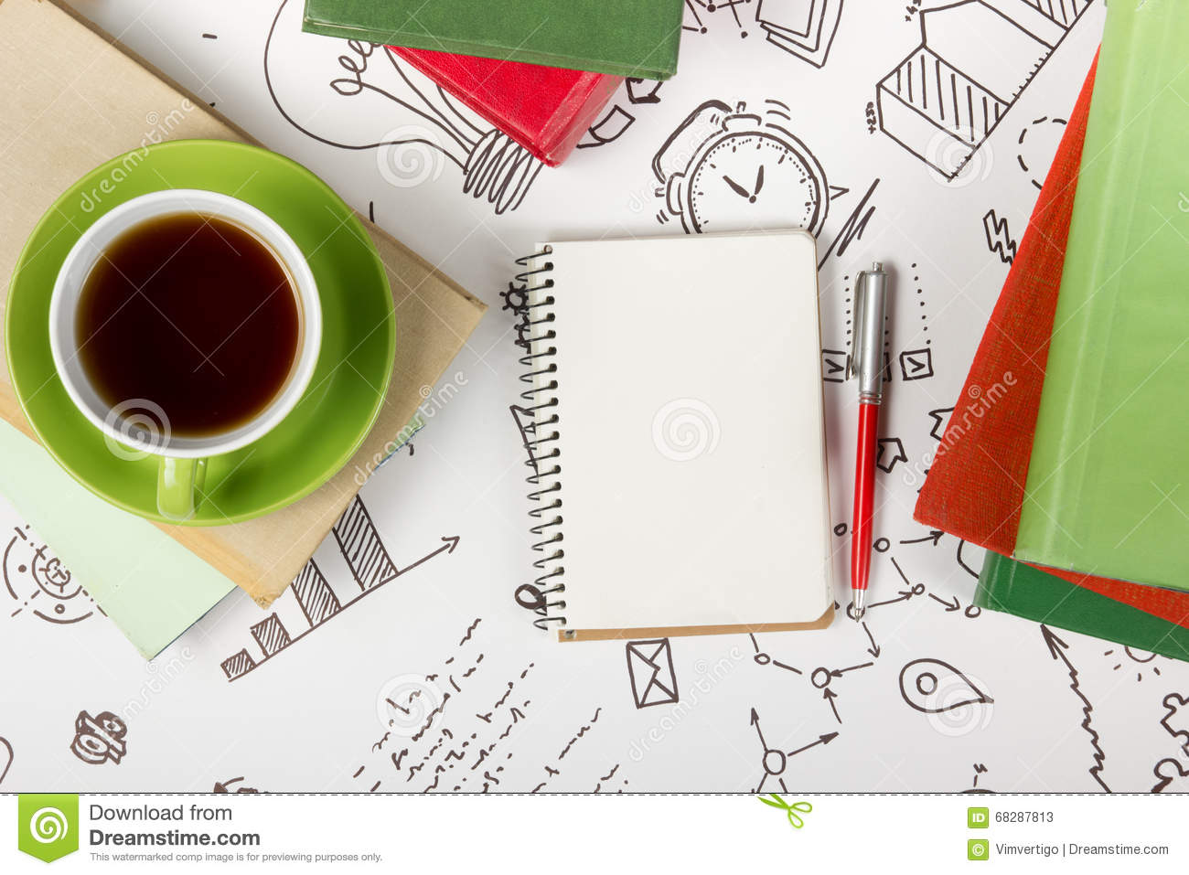 top office table cup. Office Table Desk With Supplies, Blank Note Pad, Cup, Pen On White Background Of Business Strategy. Top View Copy Space Cup P