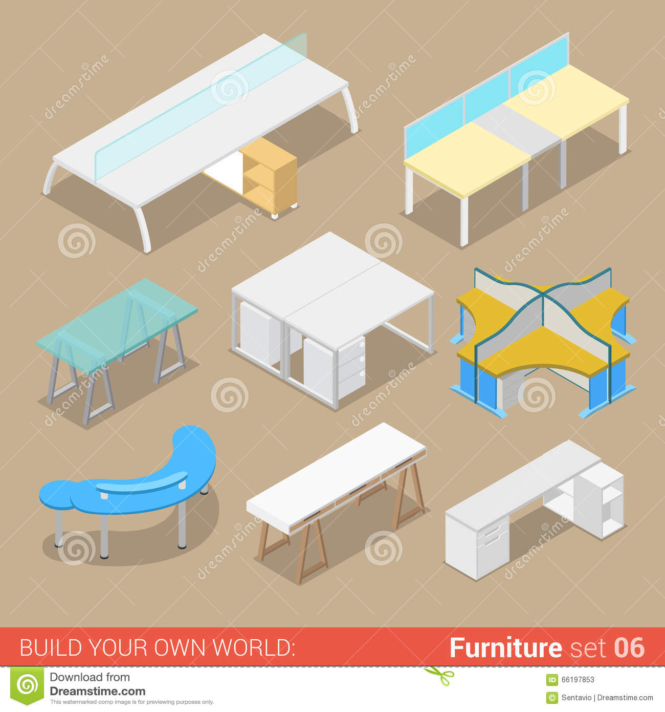 office table flat isometric furniture stock illustration