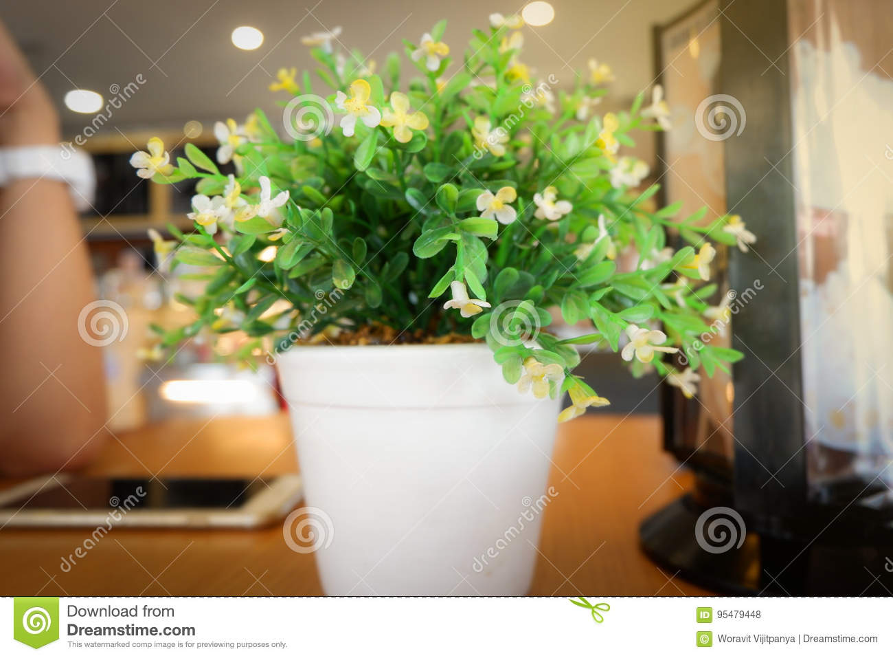Dreamstime.com & Office Table With Flower Pot. Stock Photo - Image of lights ...