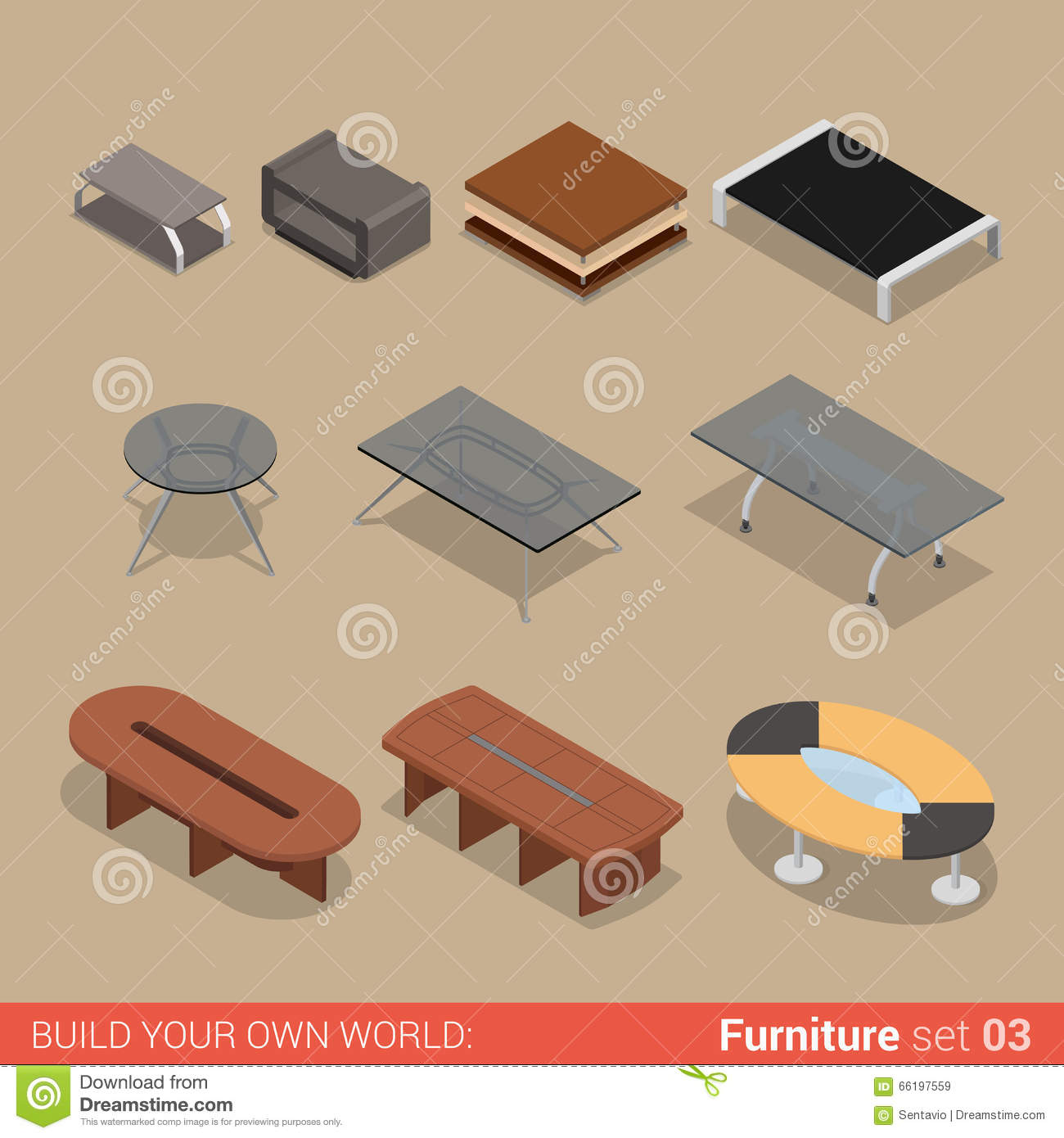 isometric furniture collection interior design concept