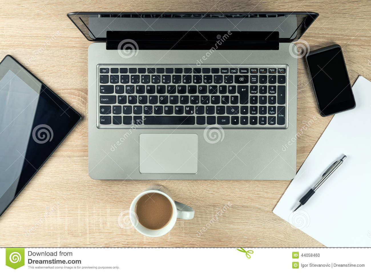 Office Table Top With Gadgets Stock Photo Image Of