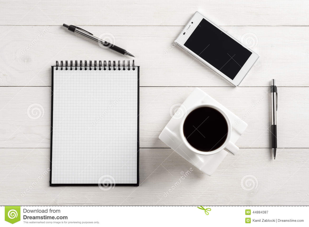 office table top view stock photo image 44884387