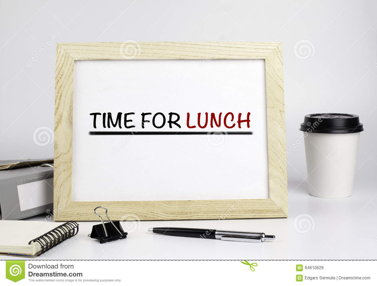 Office table with wooden frame with text - Time for lunch