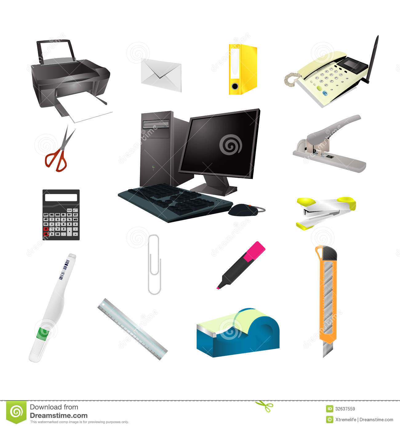 Office tools realistic icon set royalty free stock images for Herramientas de oficina
