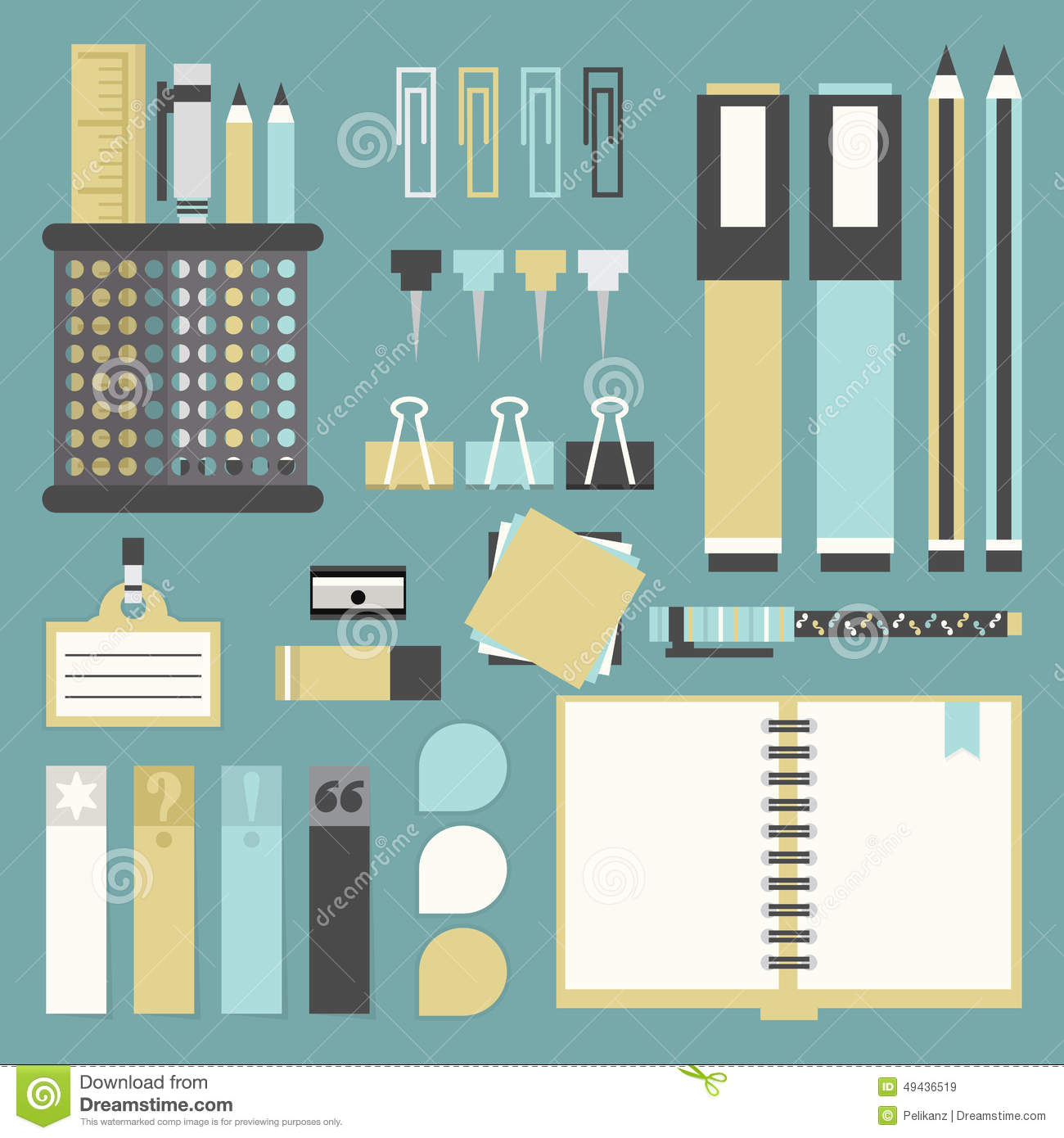 office tools supplies and stationery icons set stock
