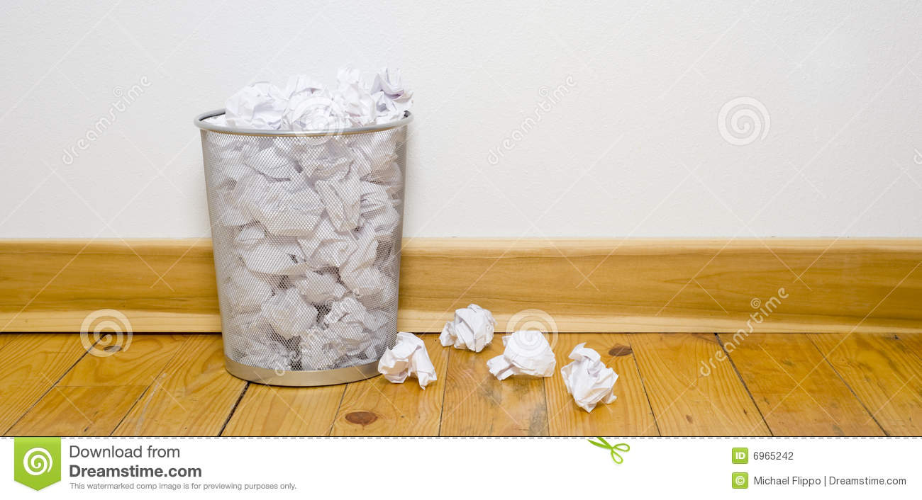 Office Trash Can On Wood Floor Stock Photo Image Of