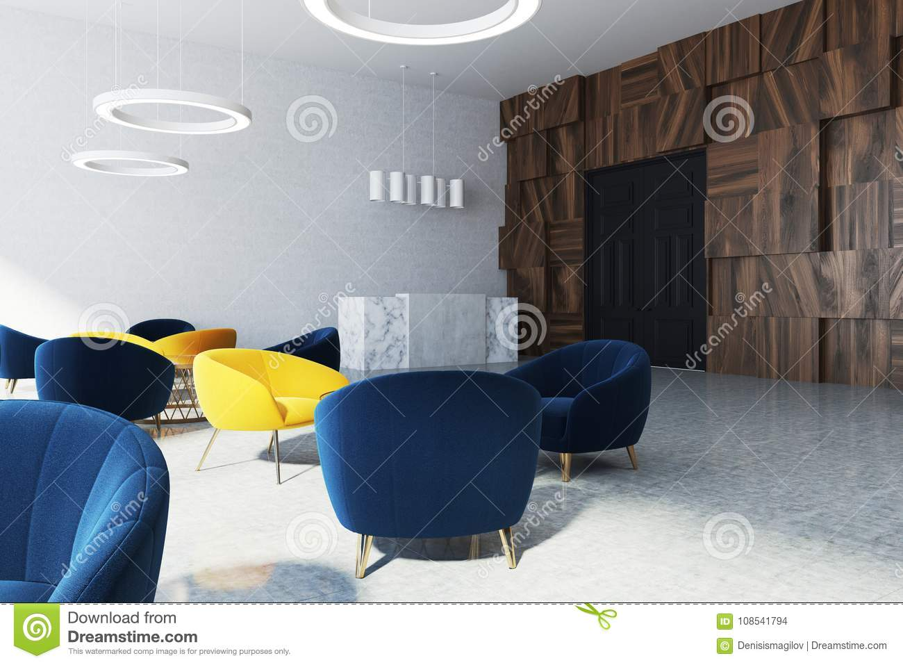 office waiting room with reception desk stock illustration