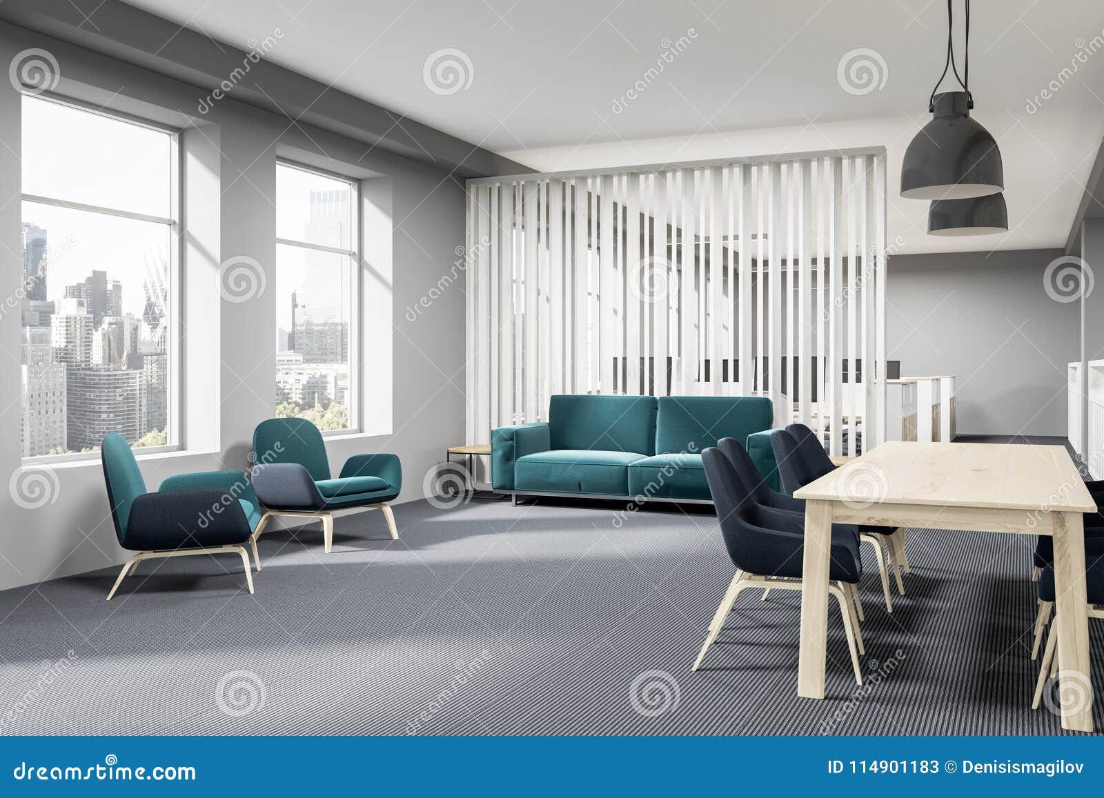 Blue Sofa Office Waiting Room Corner Stock Illustration