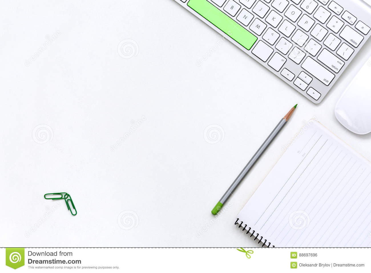 Office White Table With Computer Keyboard And Stationery Top View