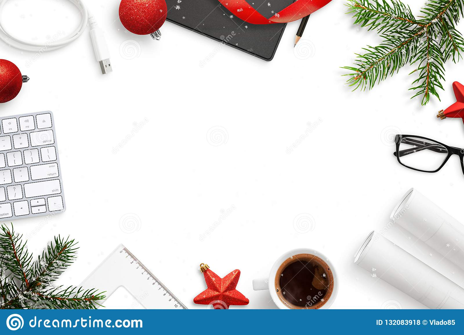 Office Work Desk During Christmas And New Year Composition