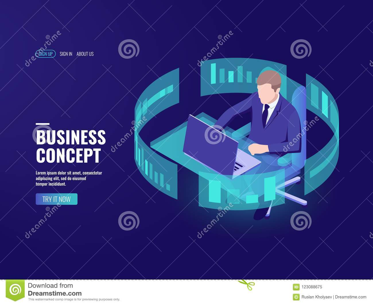 office work man sitting at the table working on laptop data processing bank employee analyst statistician information chart infographics