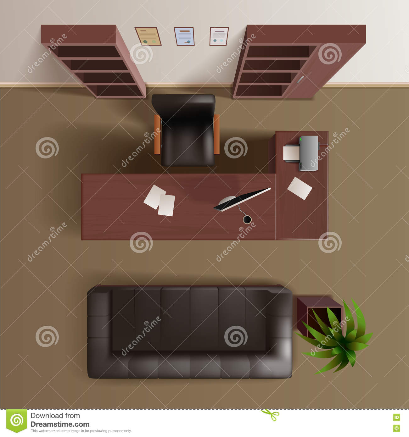 Office Work Room Top View Realistic Stock Vector