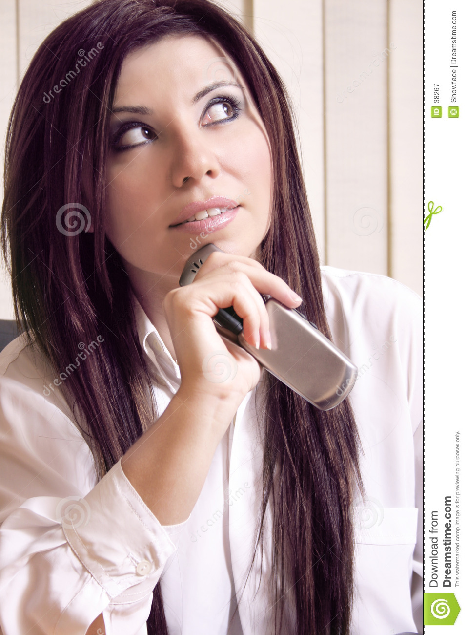 Office worker and cellphone