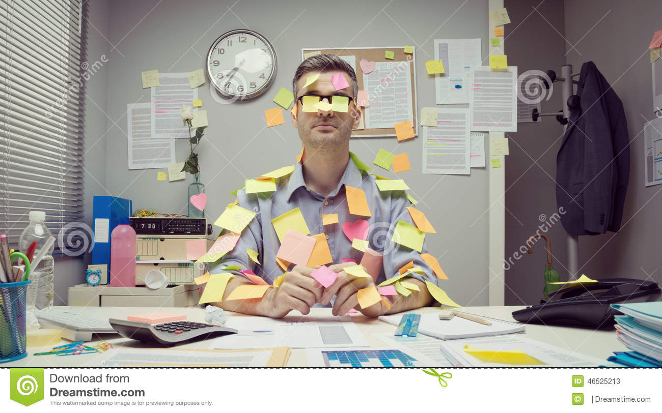 Office worker covered with stick notes stock image image of desktop glasses 46525213 - Post office working today ...