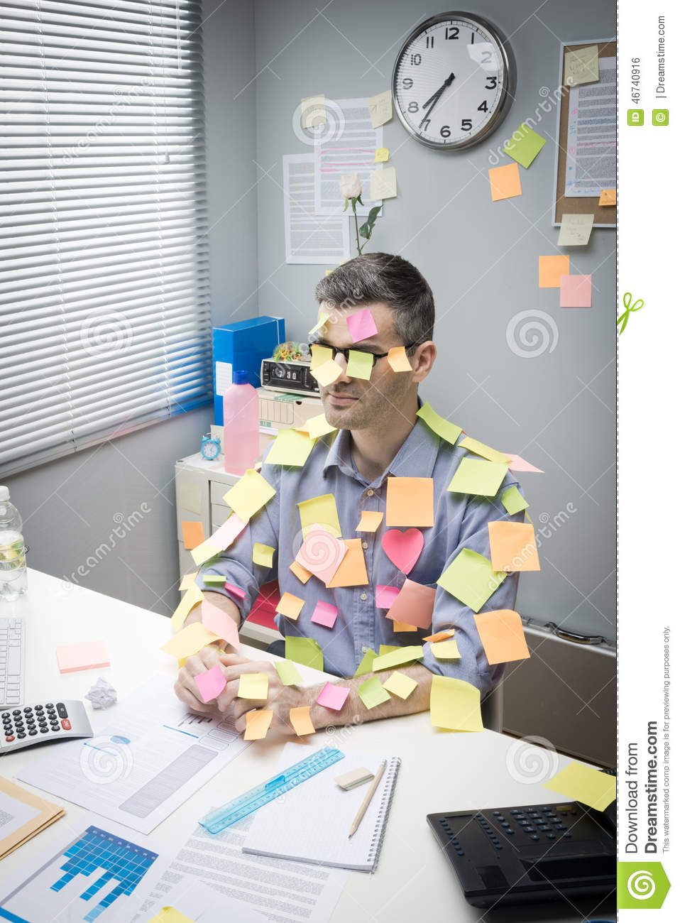 Office Worker Covered With Stick Notes Stock Photo Image