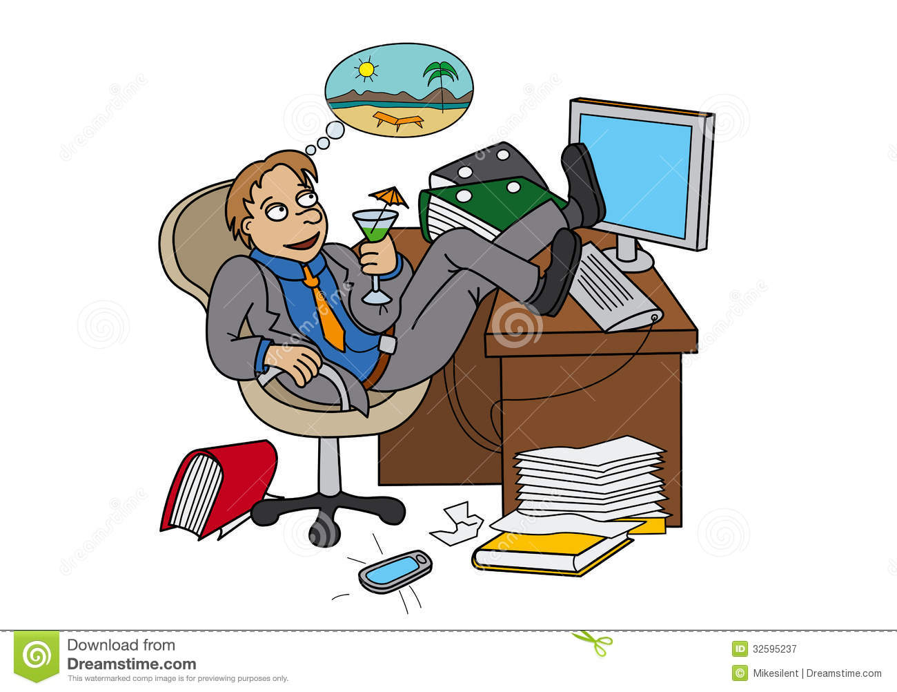 Office Worker Dreaming About Vacation Royalty Free Stock Photography ...