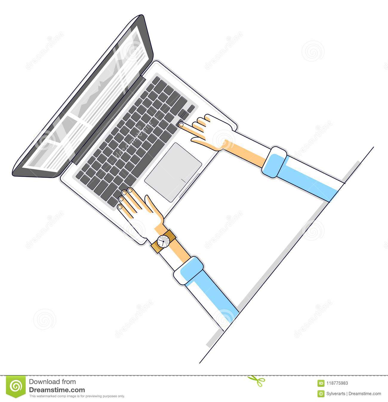 Office worker or entrepreneur businessman working on a PC computer notebook, top view of workspace desk with human