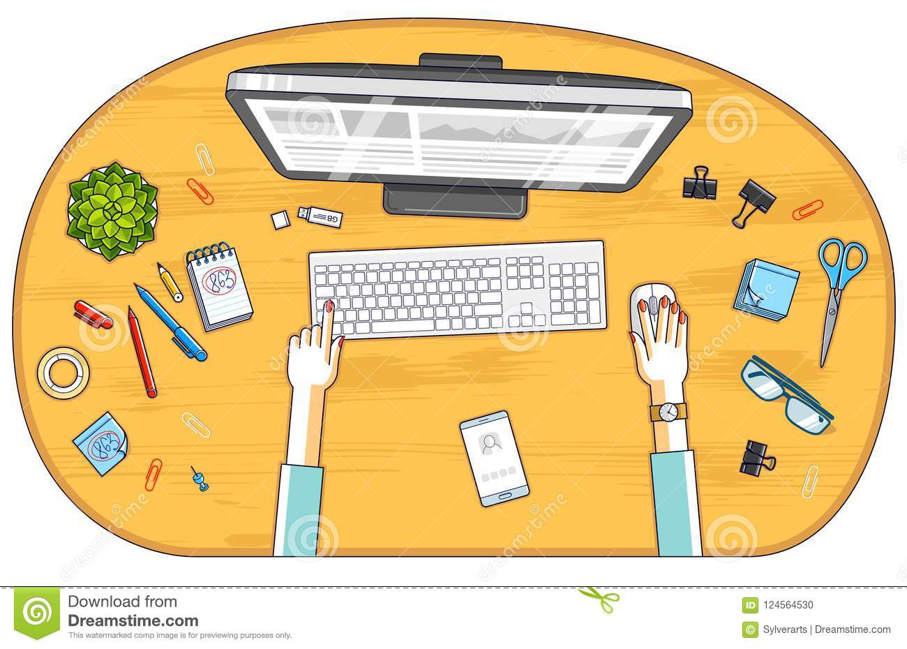 Office worker or entrepreneur working on a PC computer, top view