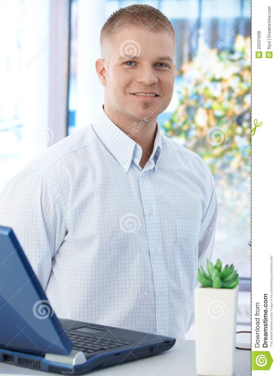 Office worker guy with laptop