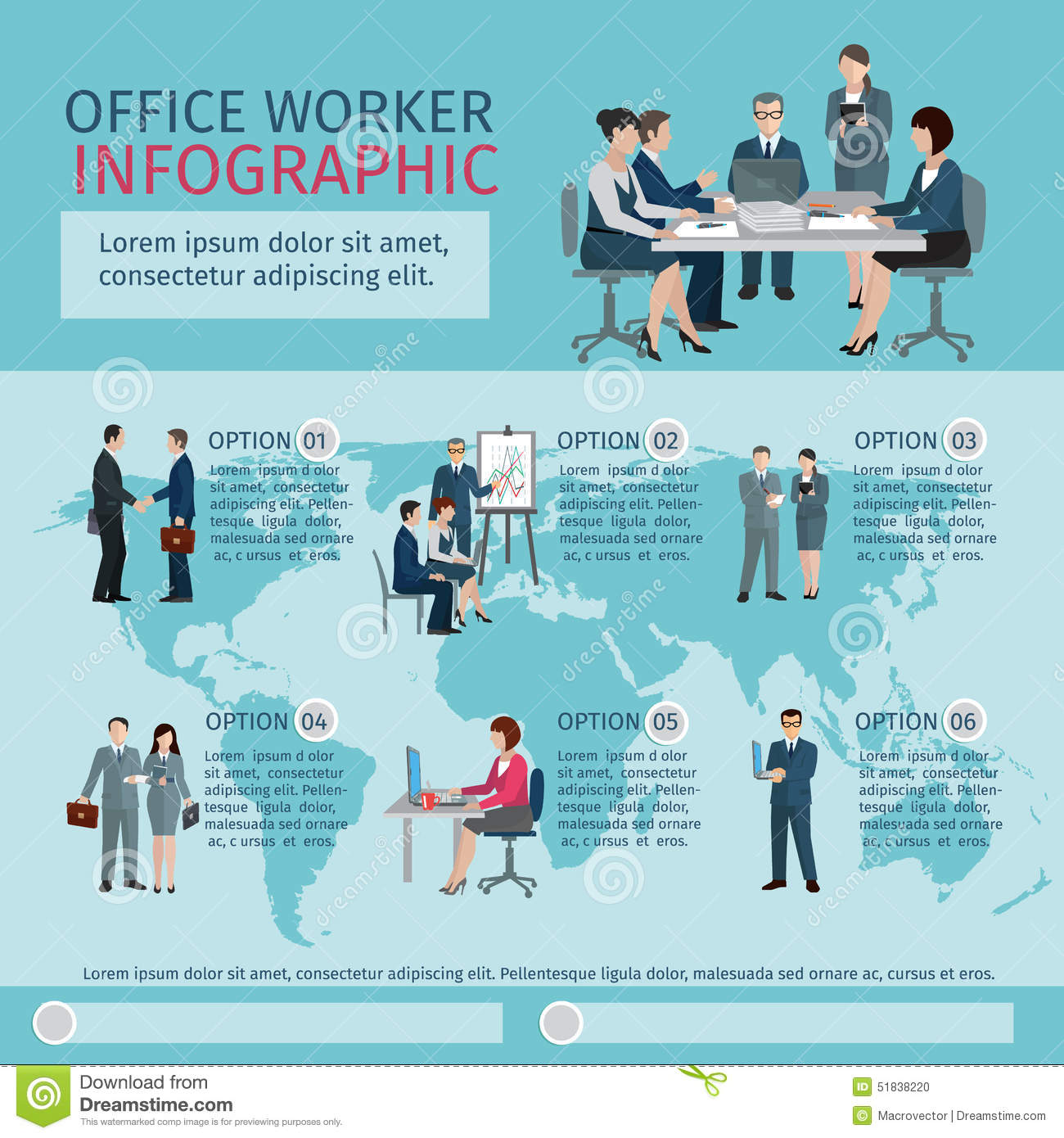 Office Worker Infographics Stock Vector Image 51838220