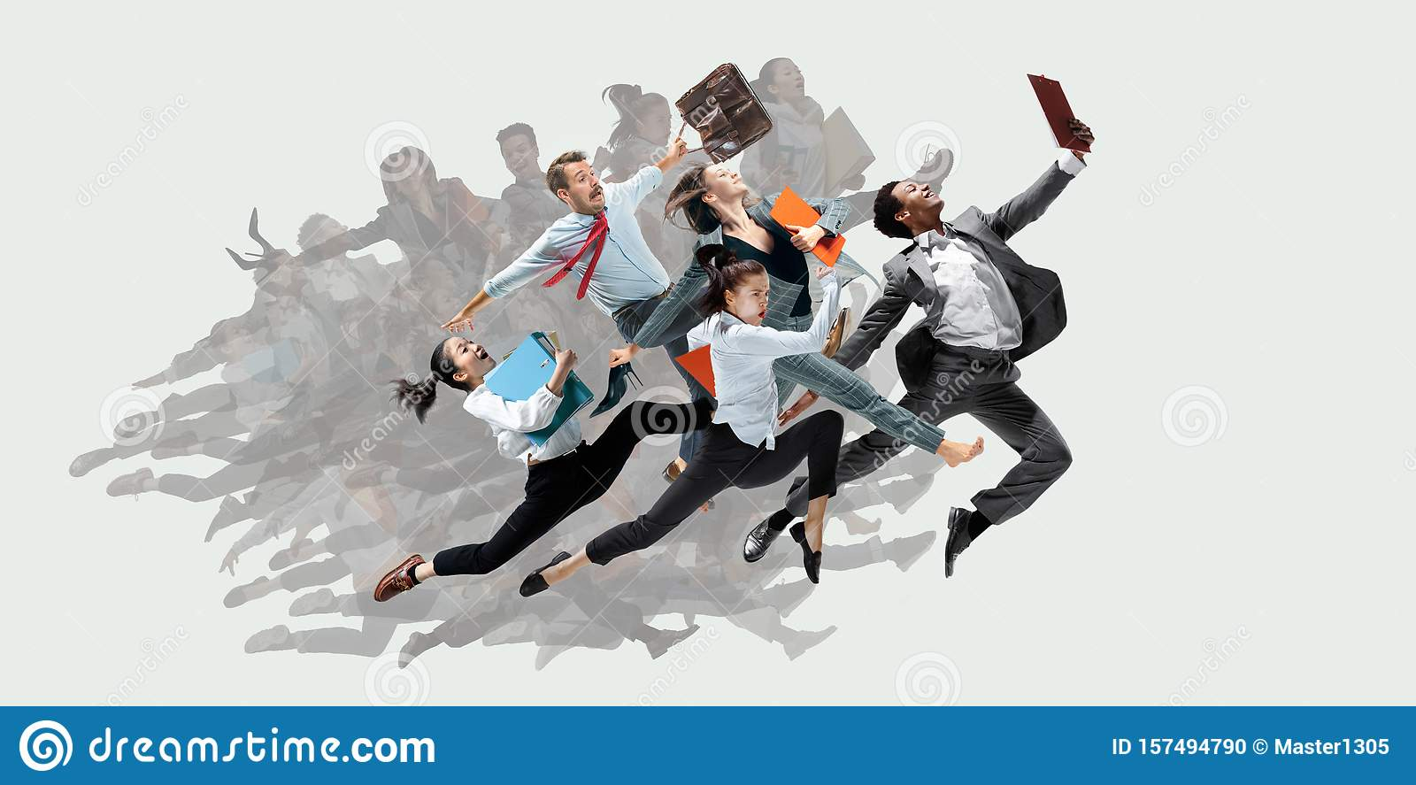 Office worker s or ballet dancers jumping on white background