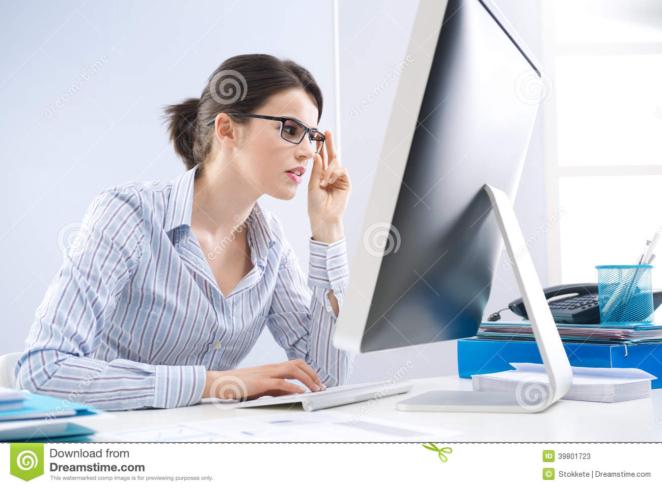 Office Worker Staring At Computer Screen Stock Image
